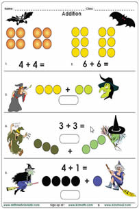 math worksheet : math halloween exercises  pre k to 2nd grade : Math Addition Worksheets Grade 1